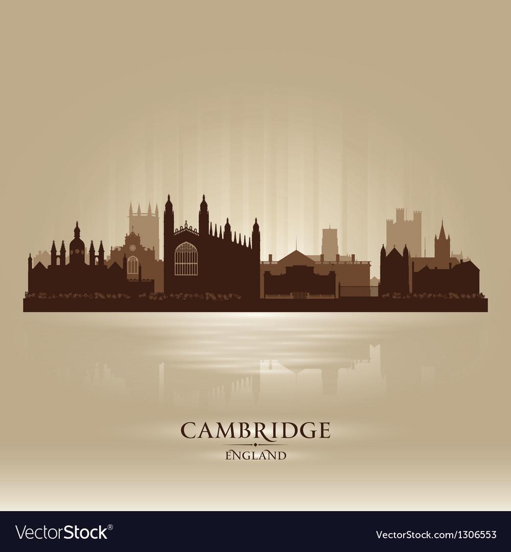 Cambridge England city skyline silhouette vector image