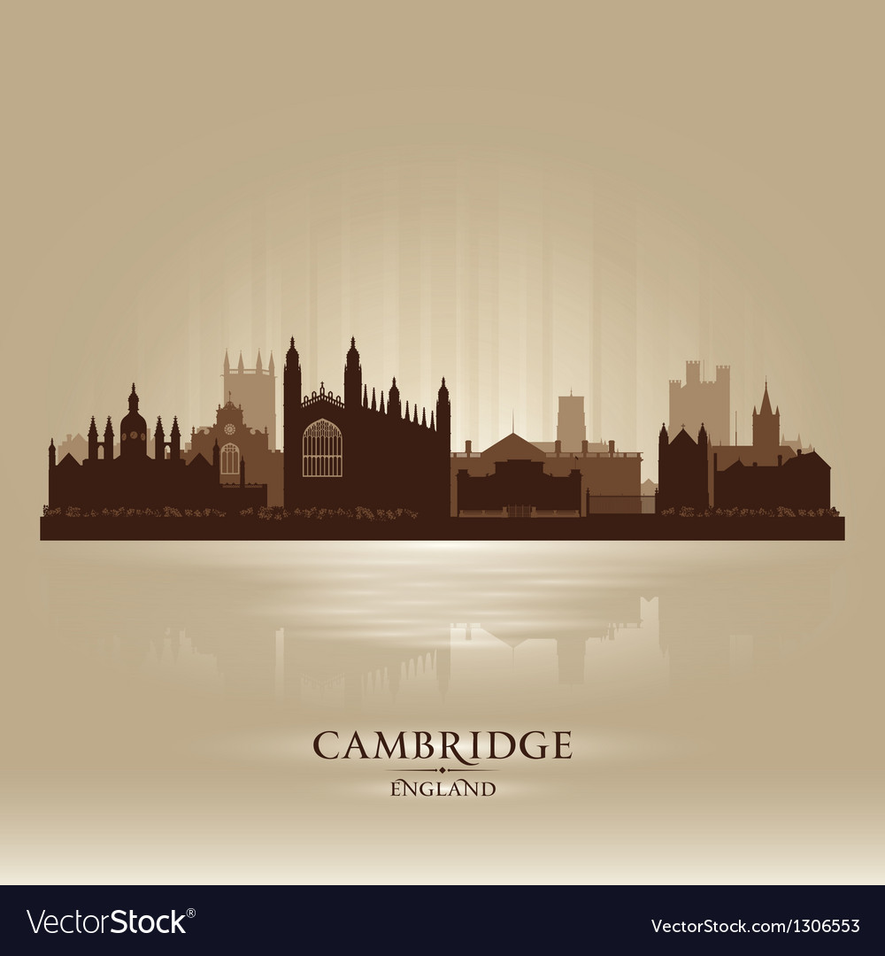 Cambridge England city skyline silhouette vector image