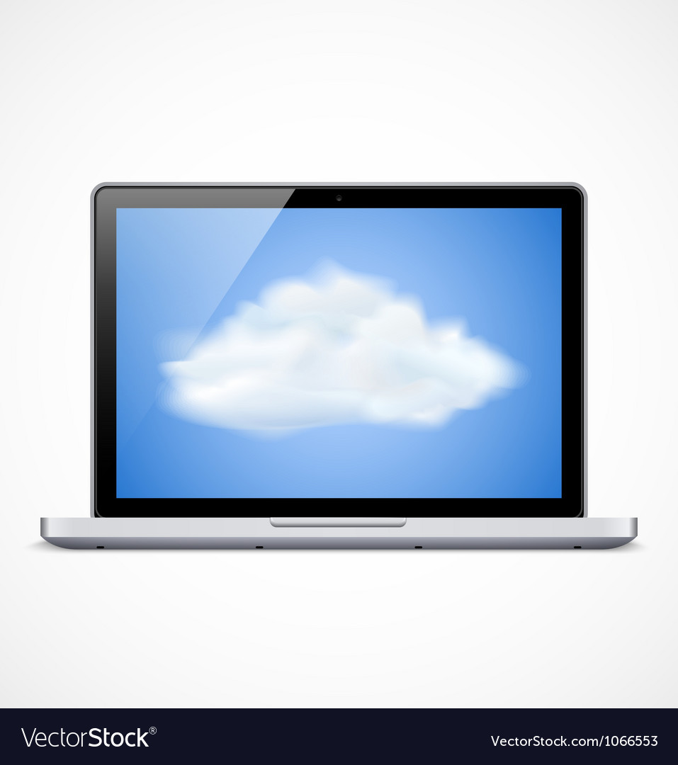 Laptop with cloud icon vector image