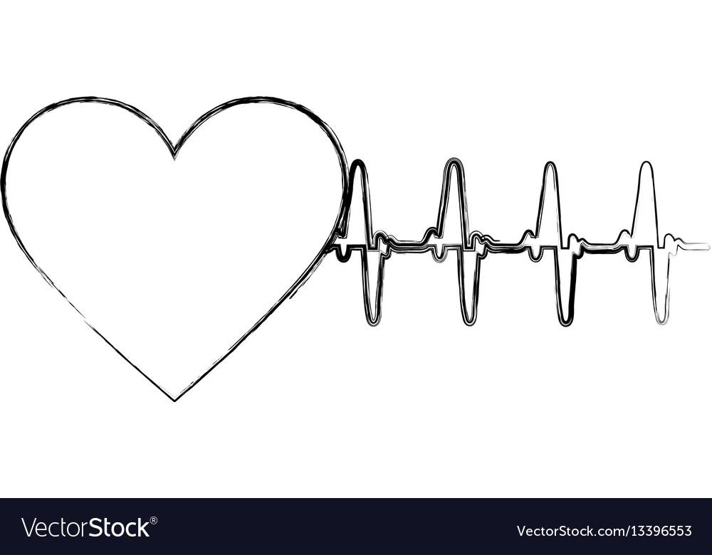 Silhouette sticker heartbeat icon vector image