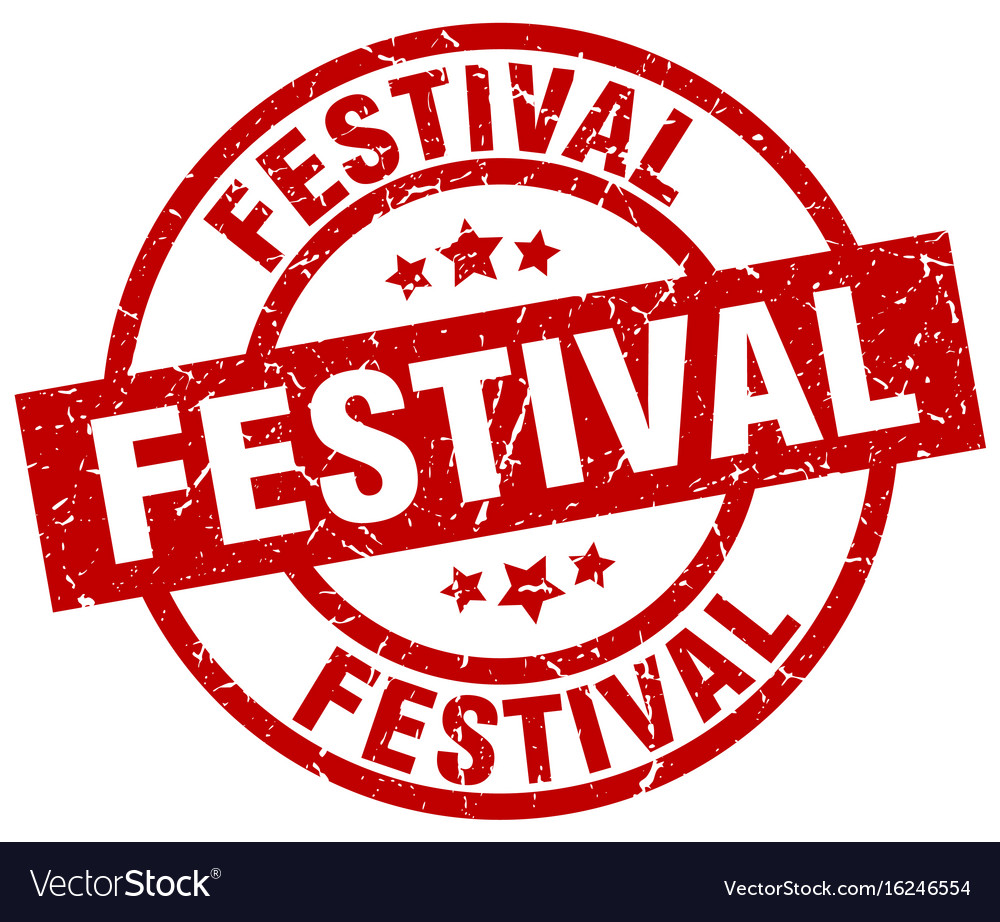 Festival round red grunge stamp vector image