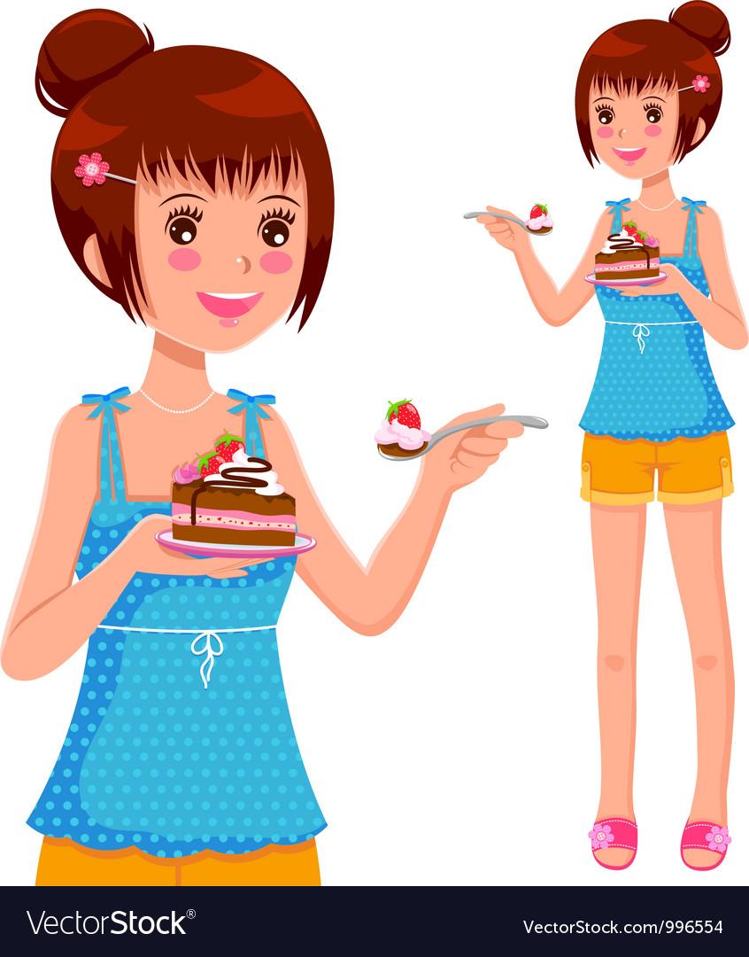 Girl eating cake vector image