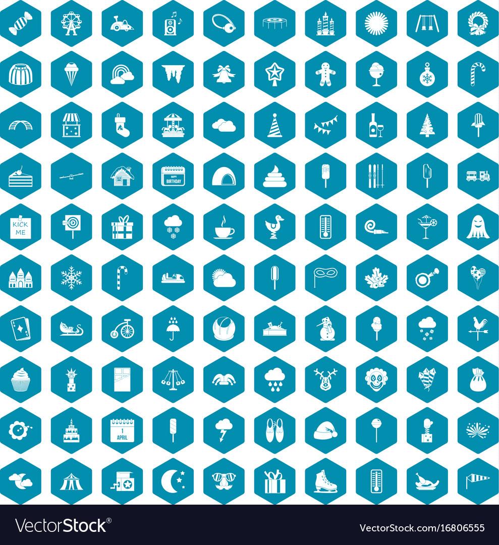 100 childrens parties icons sapphirine violet vector image
