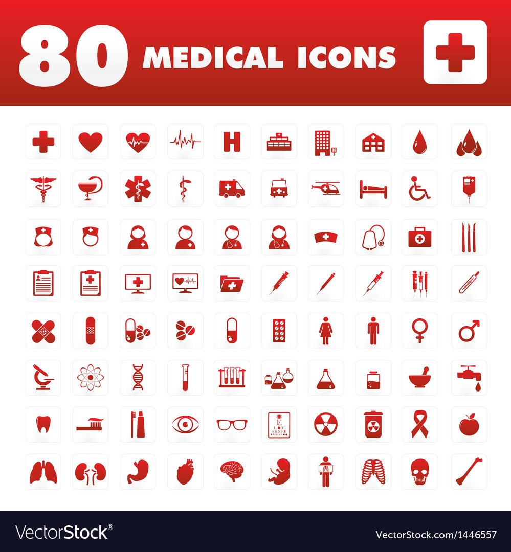 80 Medical icons vector image