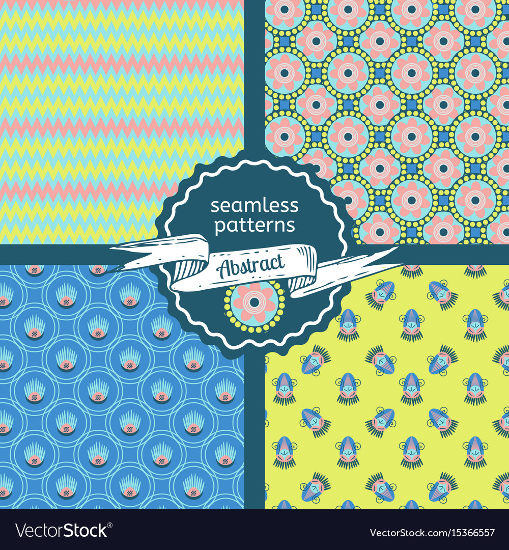 Set of tribal texture geometric seamless patterns vector image