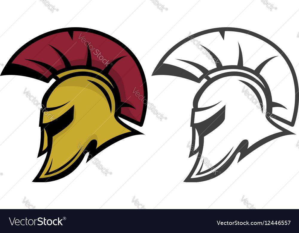 Spartan warrior helmet Sports team emblem vector image