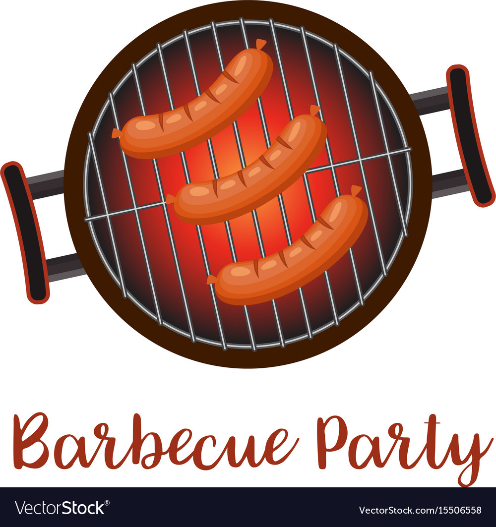 Barbecue pan with sausages vector image