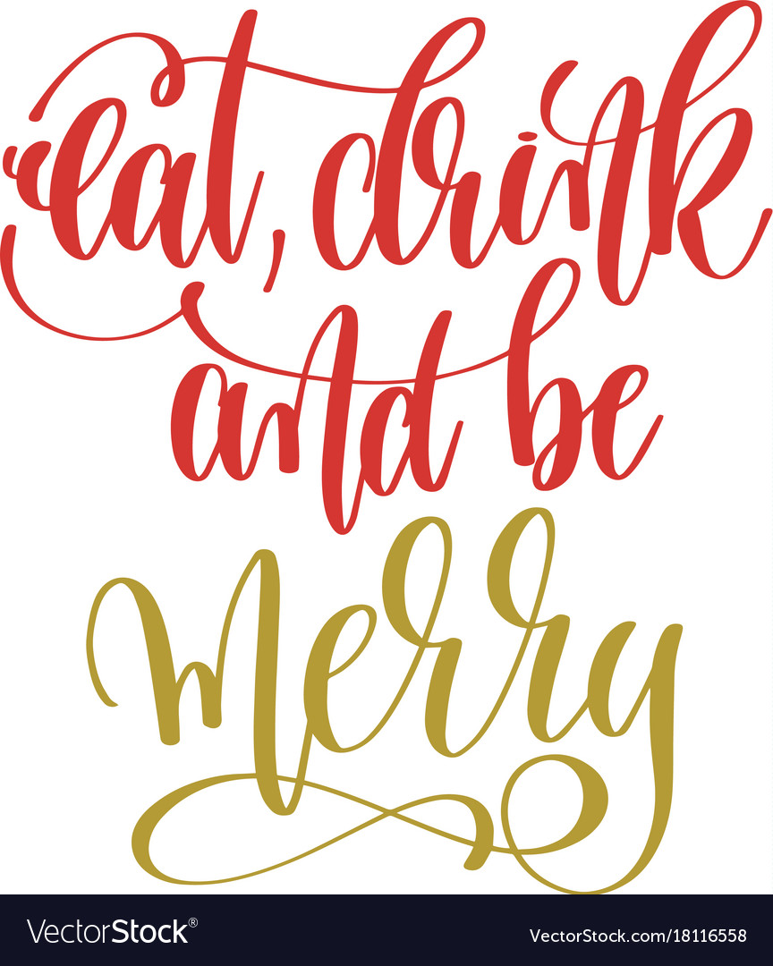 Eat drink and be merry hand lettering holiday red vector image