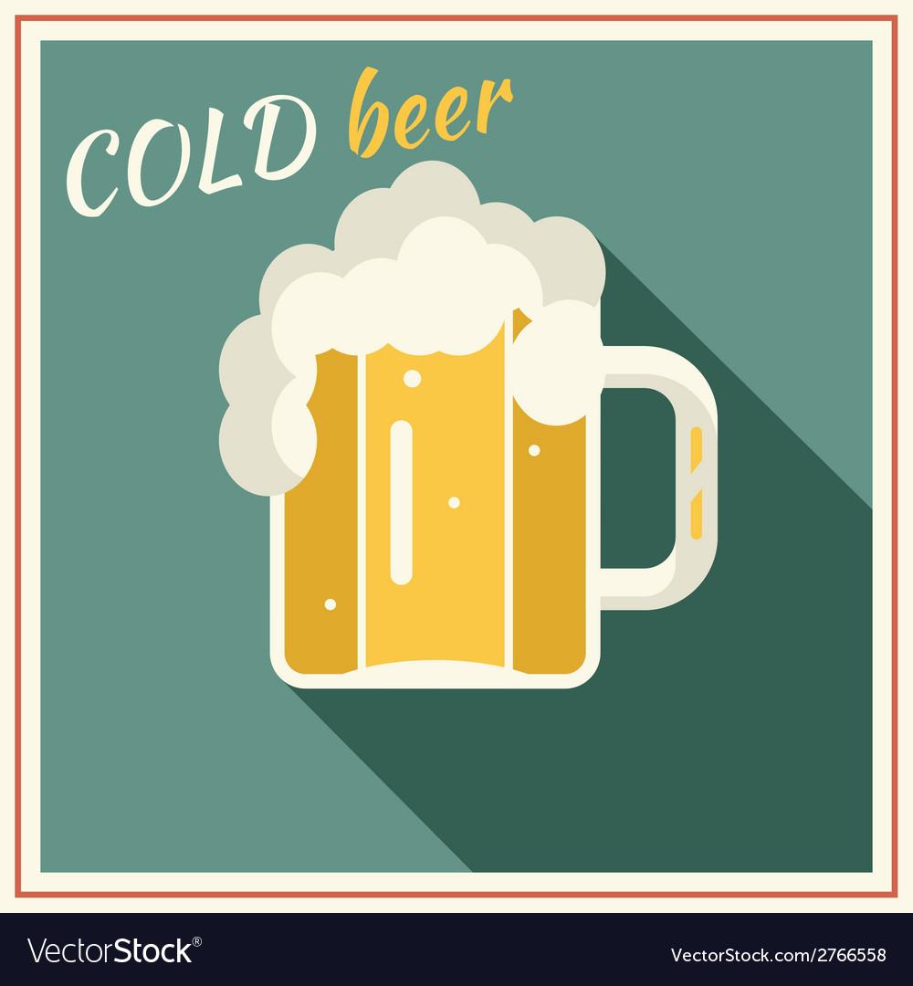 Retro Beer Mug with Foam Symbol Alcohol vector image