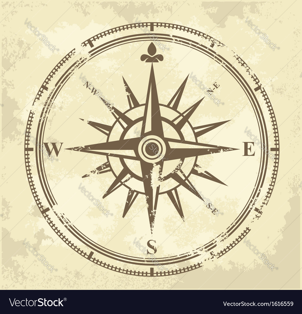 Vintage compass vector image