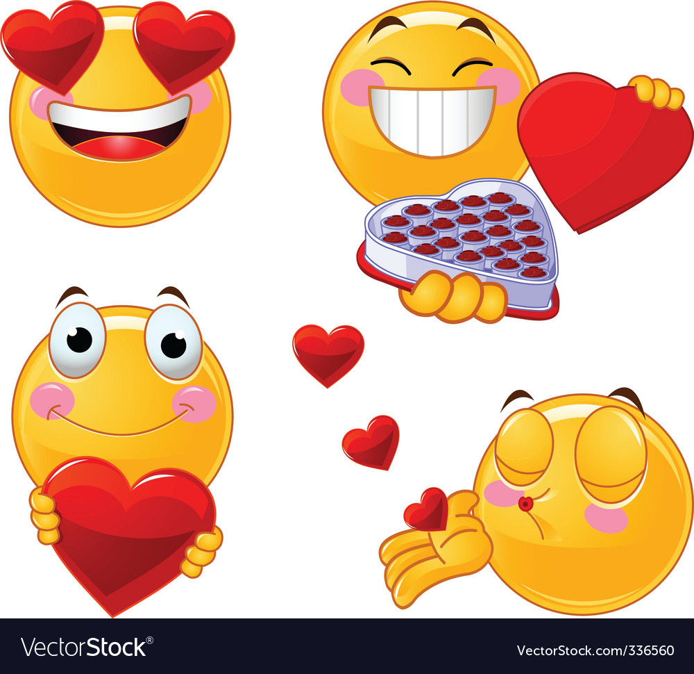 Set of valentines smileys emoticons vector image