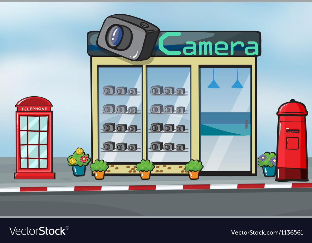 A camera store and letterbox Vector Image