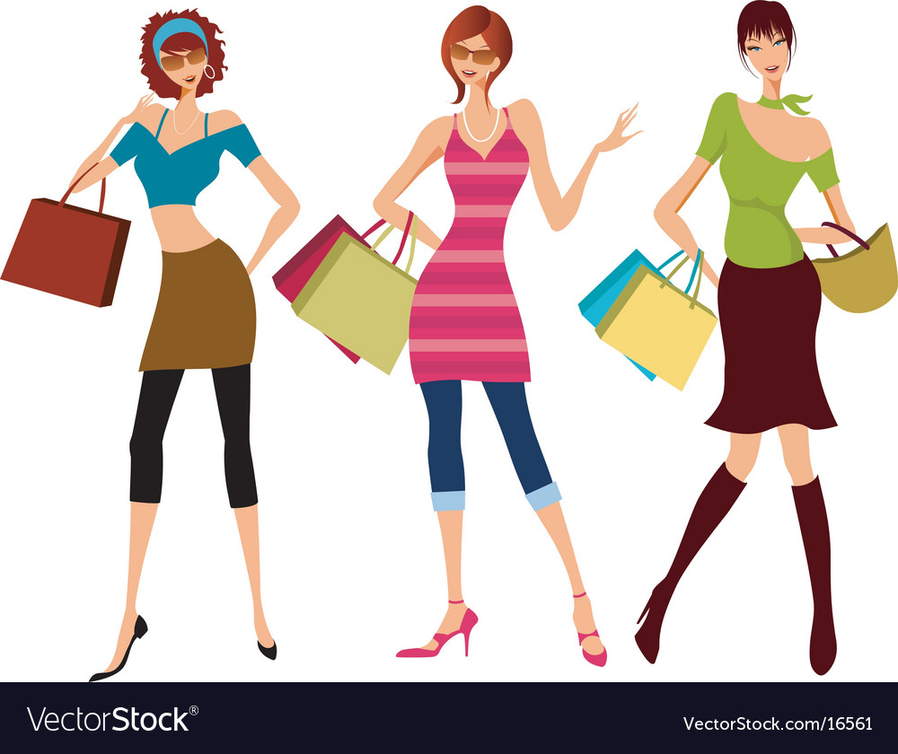 Funky fashion models Vector Image