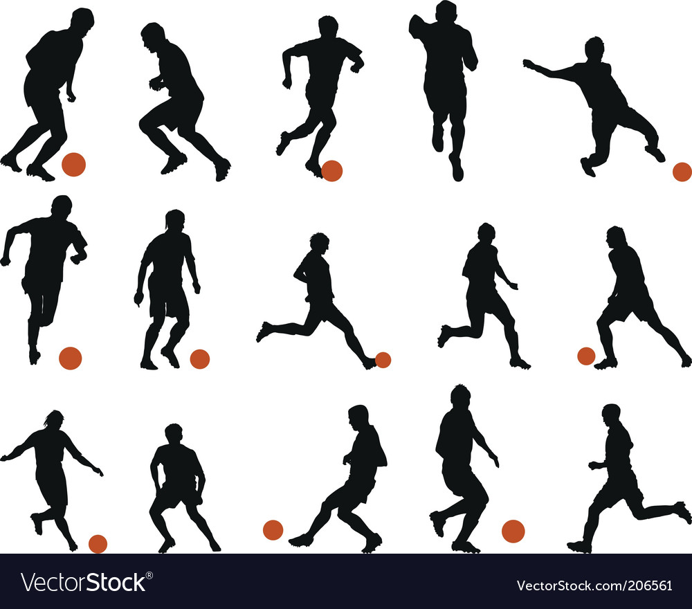 football soccer silhouette set vector image