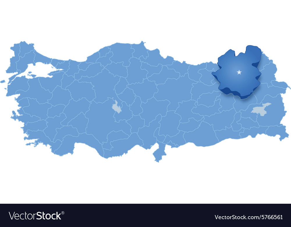Map of Turkey Erzurum Royalty Free Vector Image