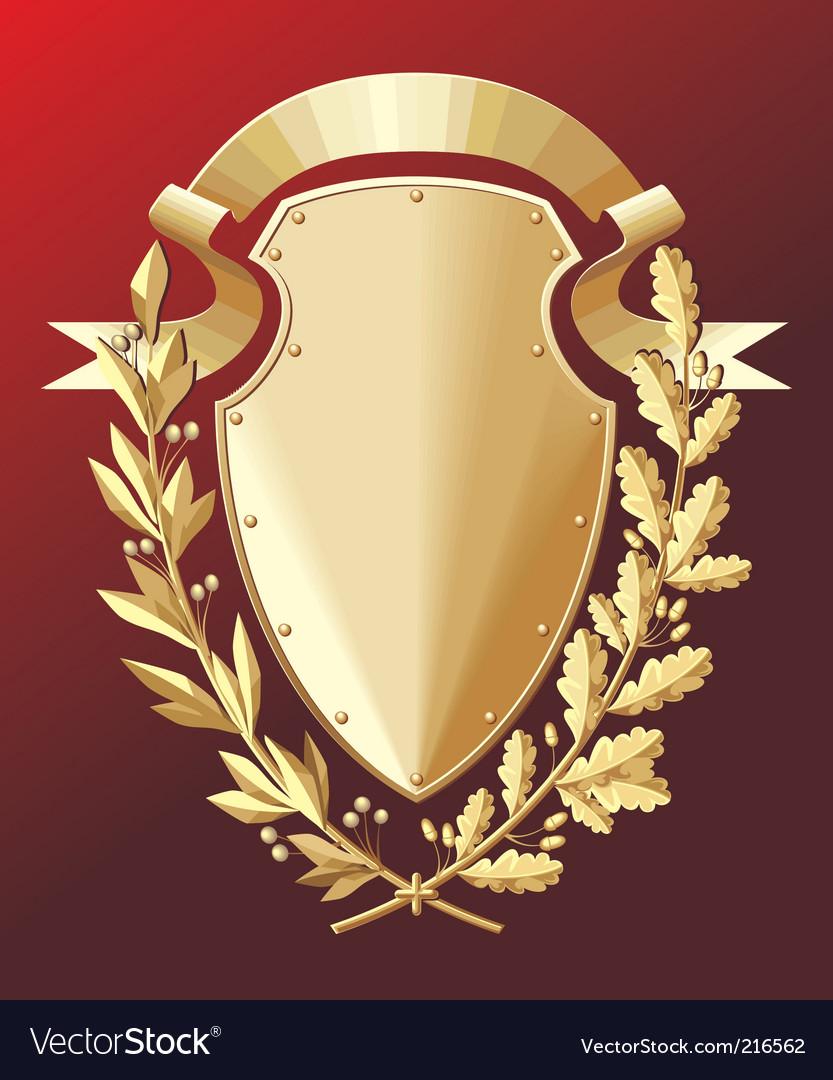 Gold shield vector image