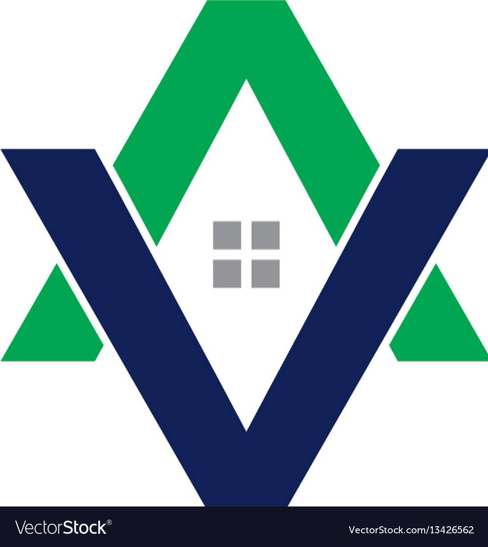 Av letter house logo vector image