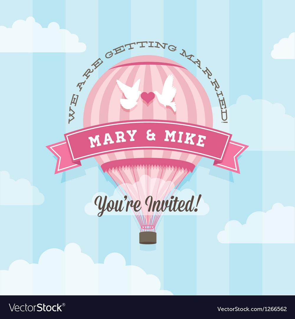 Wedding invitation with balloon vector image