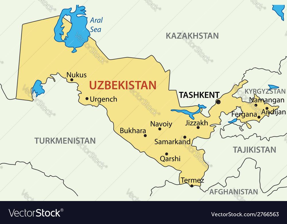 Republic of Uzbekistan map Royalty Free Vector Image