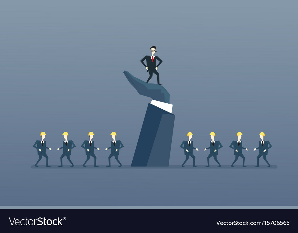 Businessman standing up on big hand leader with vector image