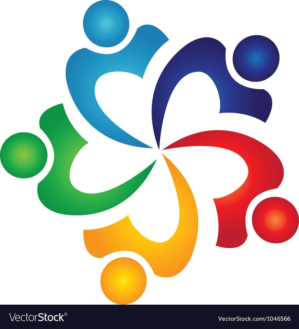 Teamwork swoosh people logo vector image