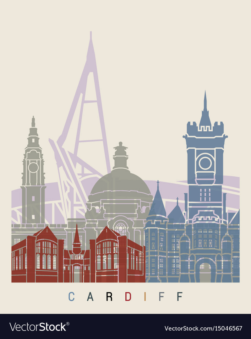 Cardiff skyline poster vector image