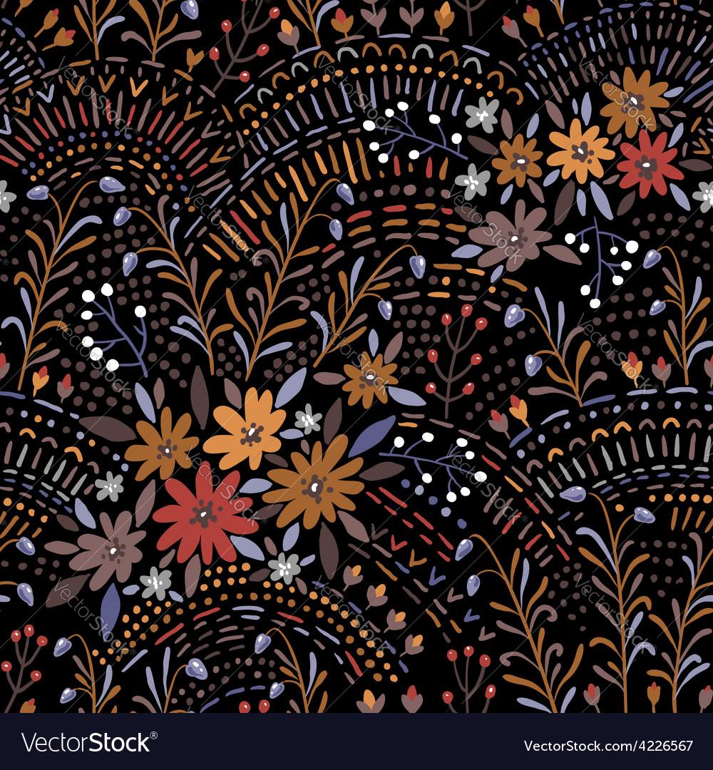 Pattern floral black vector image