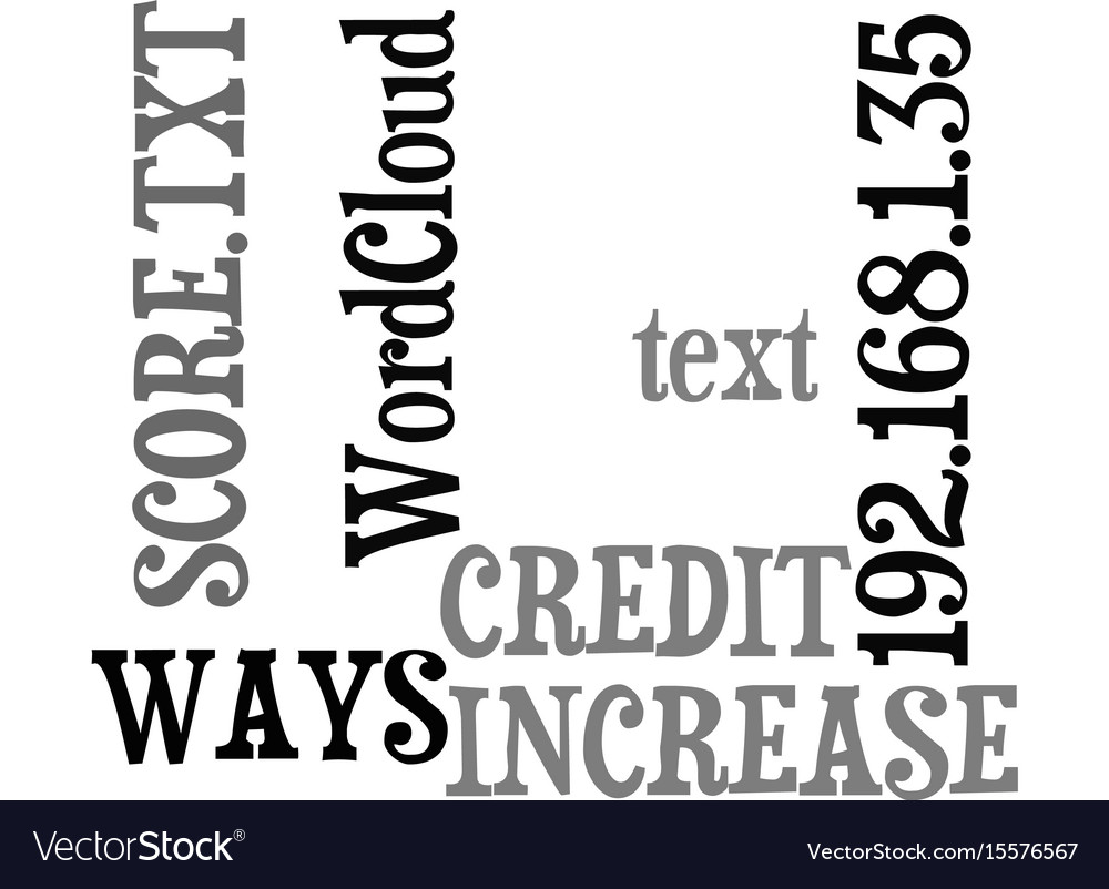 Ways to increase your credit score text word vector image