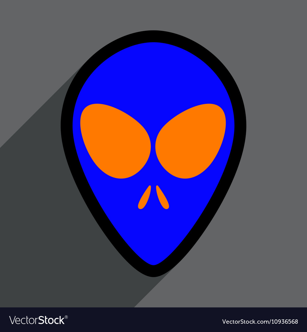 Flat with shadow icon alien on a bright background