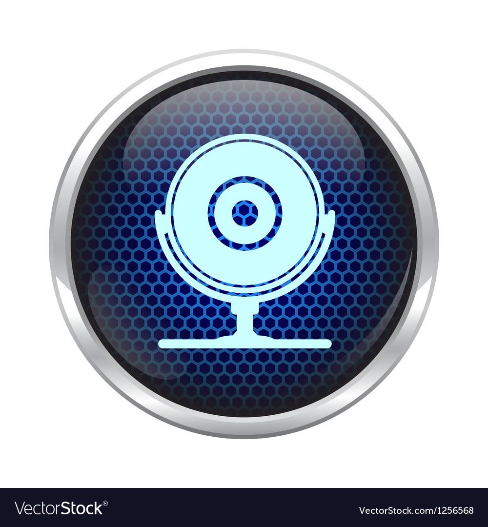 Blue honeycomb web cam icon vector image