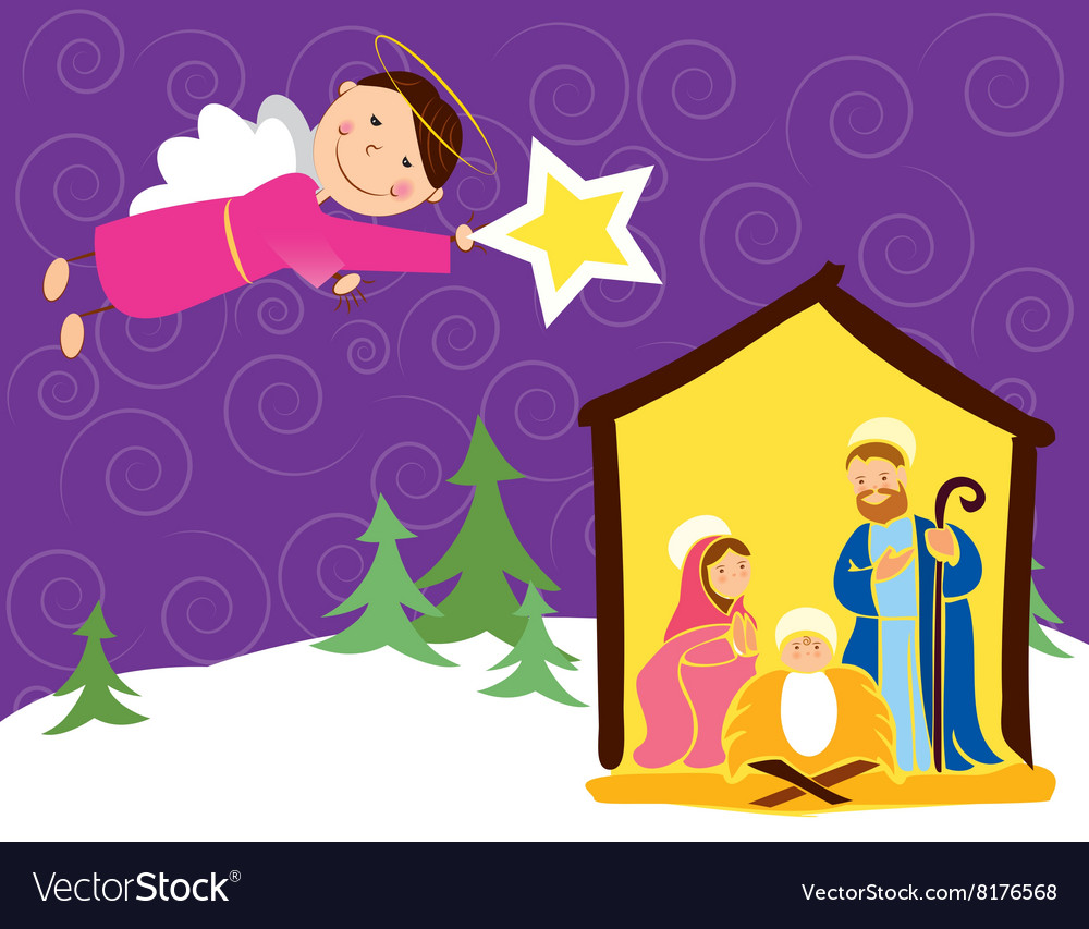 Angel in Christmas vector image