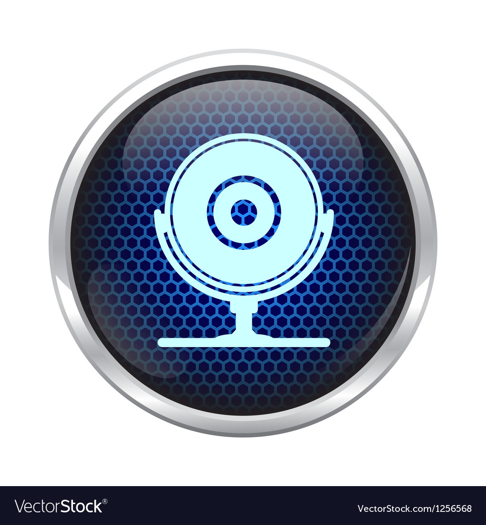 Blue honeycomb web cam icon vector image