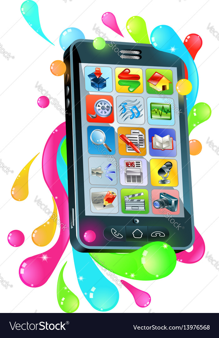 Funky mobile phone jelly bubble concept vector image