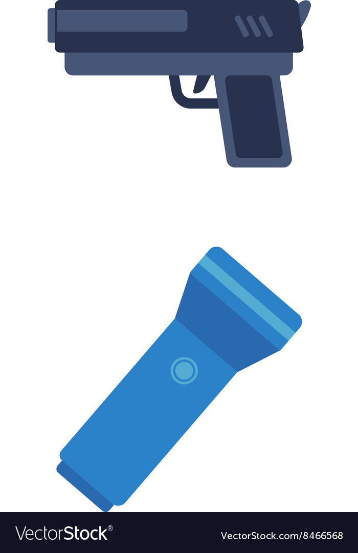 Pistol and flashlight vector image
