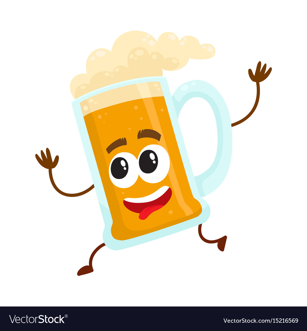 Funny beer glass mug character with human face vector image
