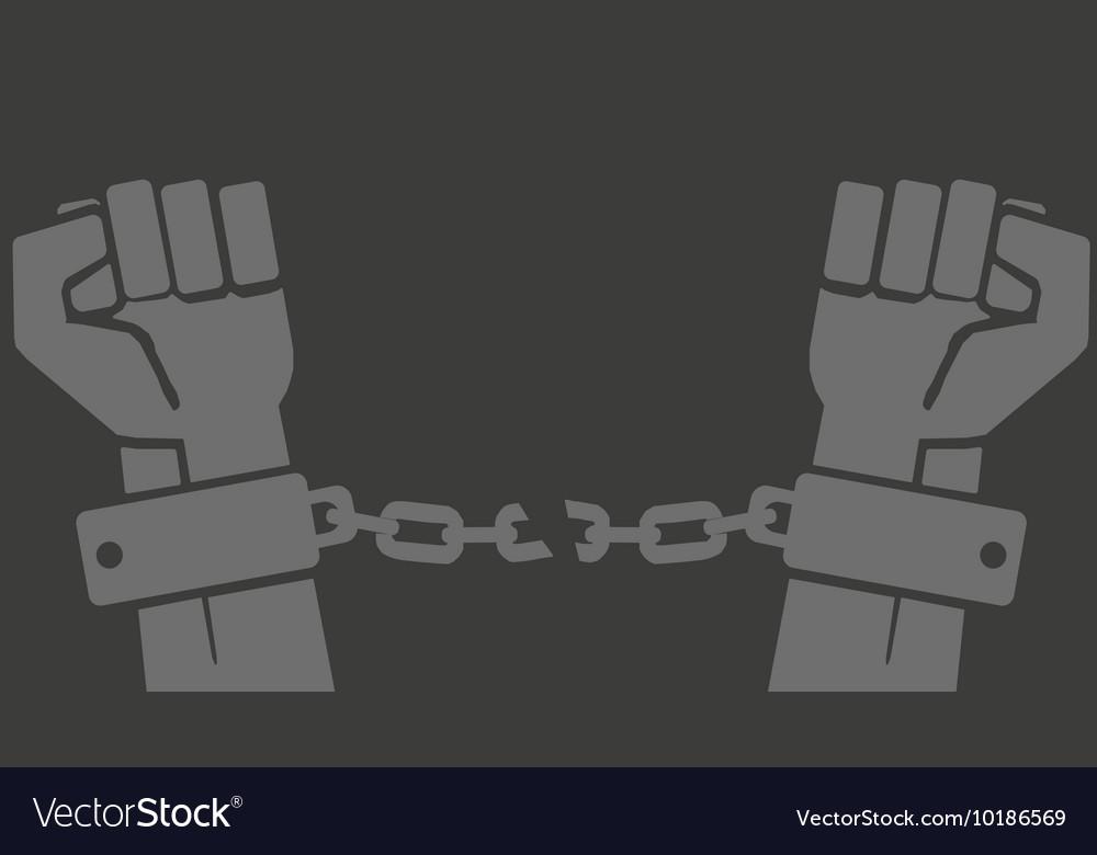 Hands in shackles with broken chain vector image