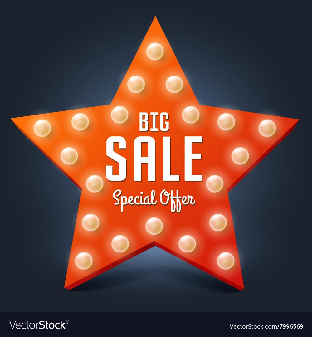 Sale retro light star Big Sale vector image