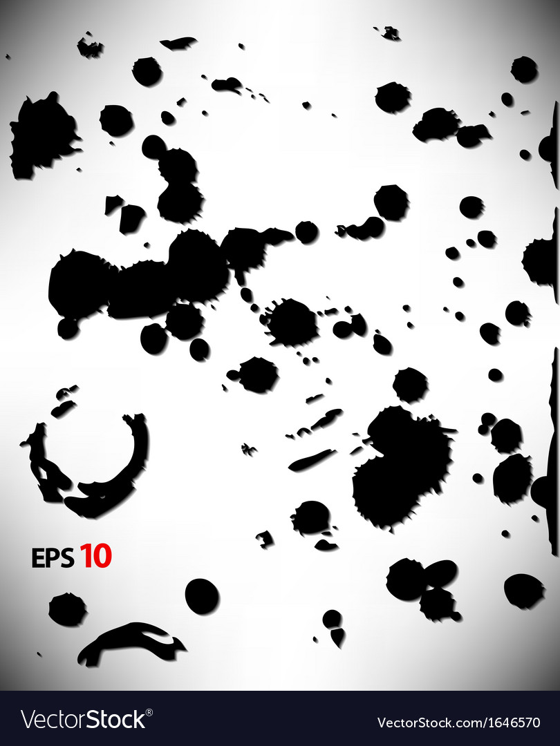 Set of ink blots in black and white vector image