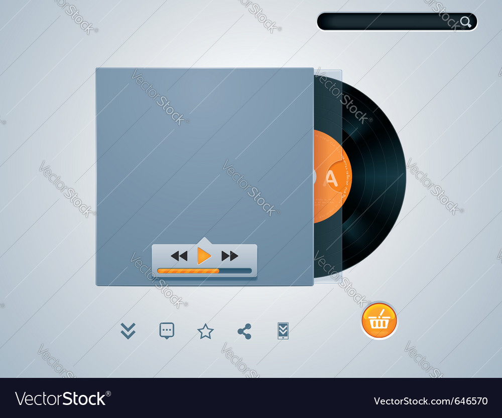 Vinyl disk in envelope music player vector image
