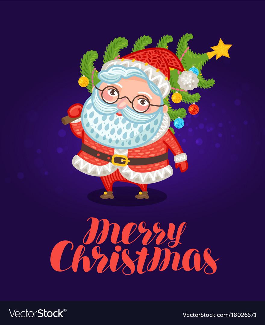 Merry christmas greeting card cute santa claus vector image kristyandbryce Choice Image
