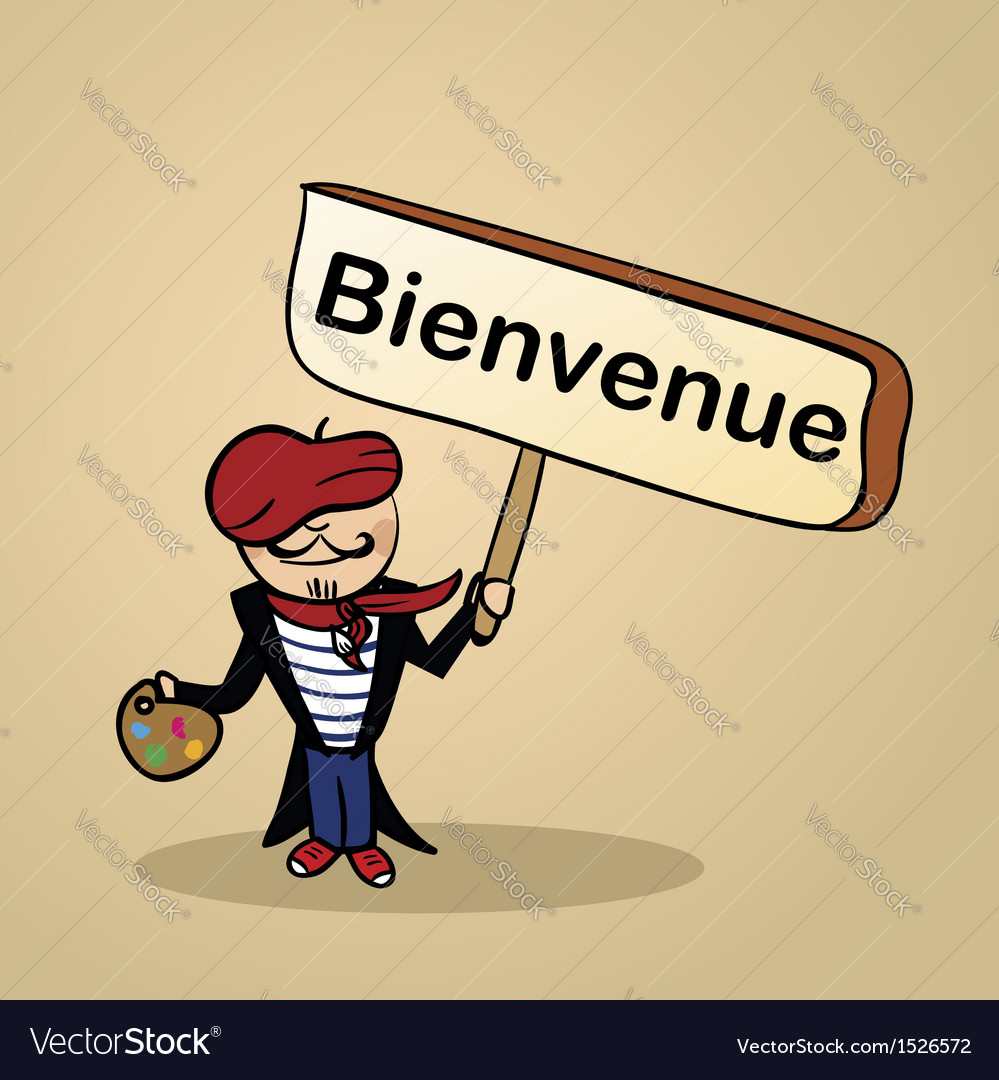 Welcome to france people sketch vector image