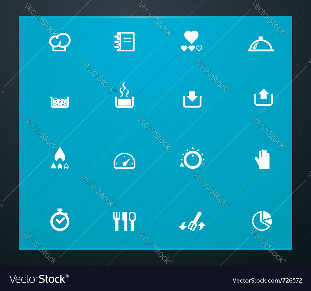 Cooking related pictograms vector image