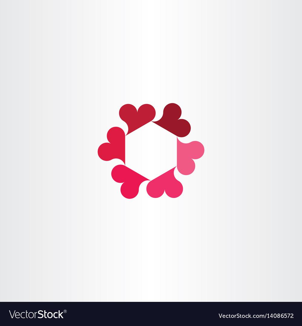Heart circle rotation icon logo love sign vector image