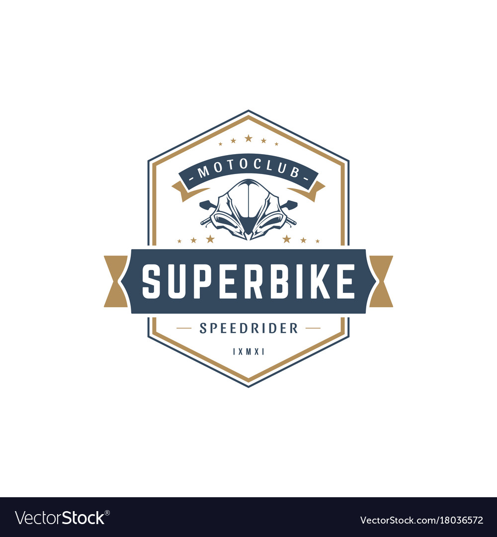 Sport motorcycle logo template design vector image