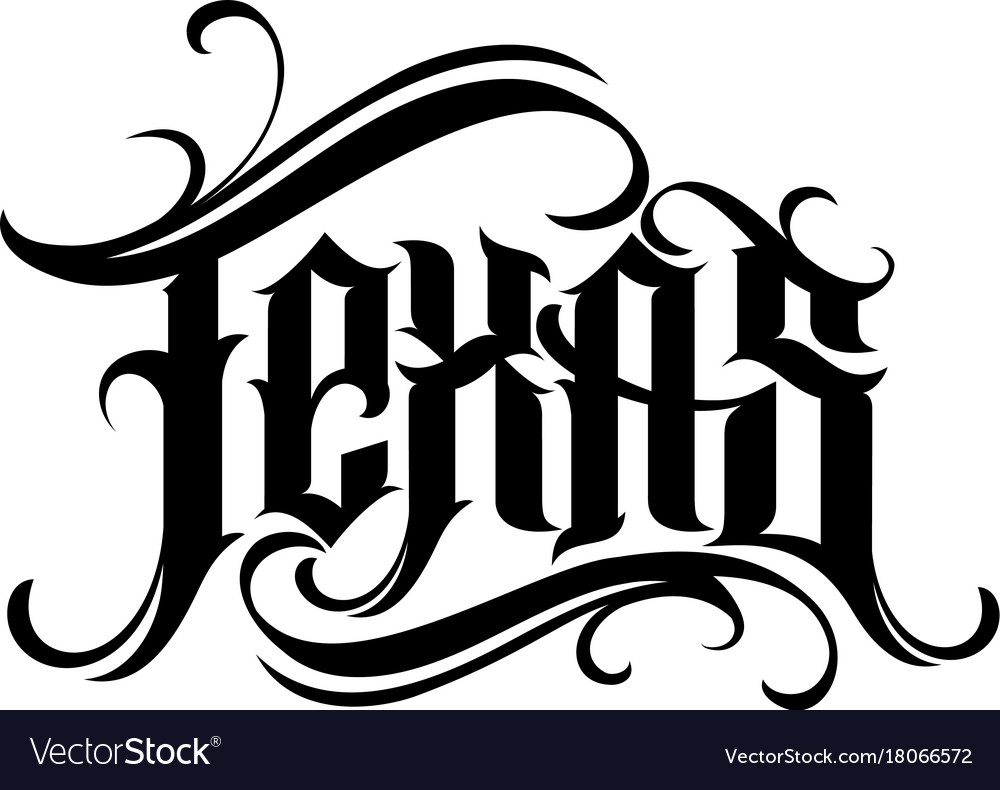Preferenza Texas lettering in tattoo style Royalty Free Vector Image SH52