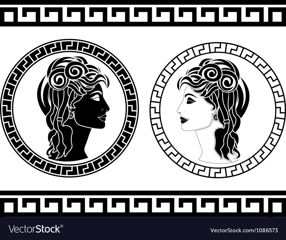 Profiles of roman woman Vector Image
