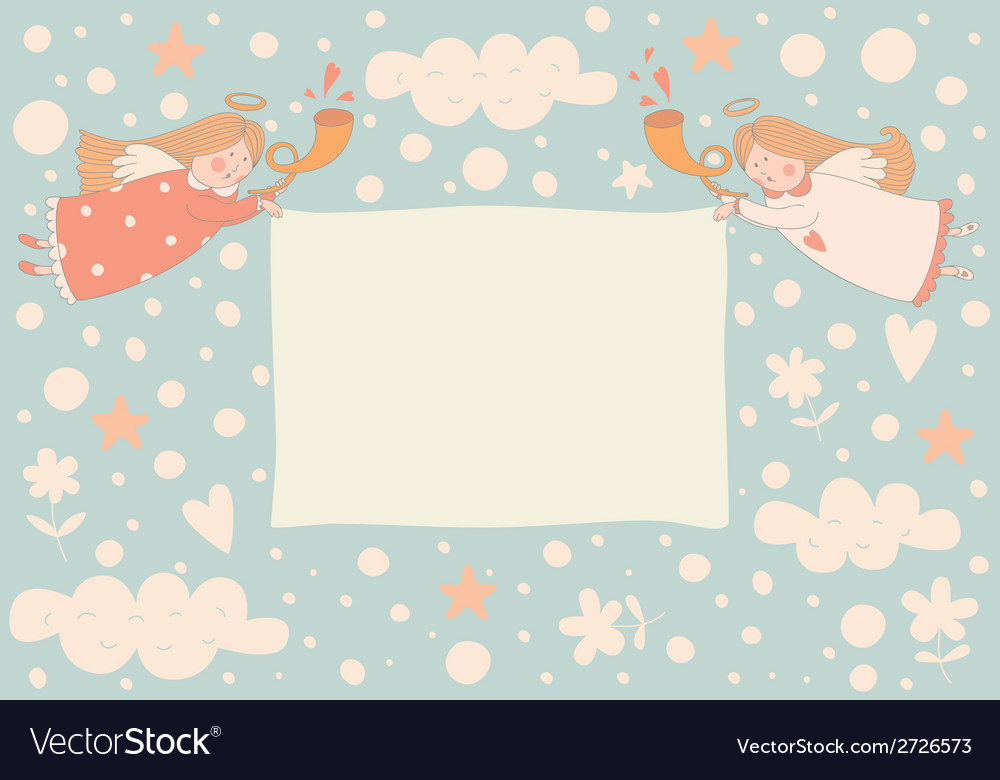 Text frame with two angels vector image