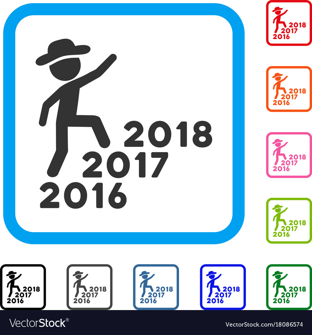 Gentleman steps years from 2016 to 2018 framed vector image