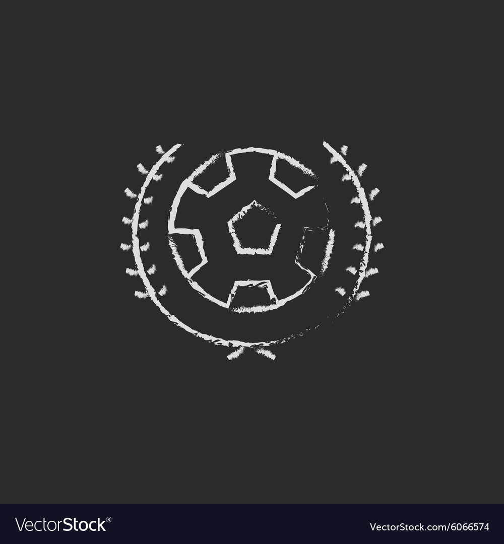 Soccer badge icon drawn in chalk vector image