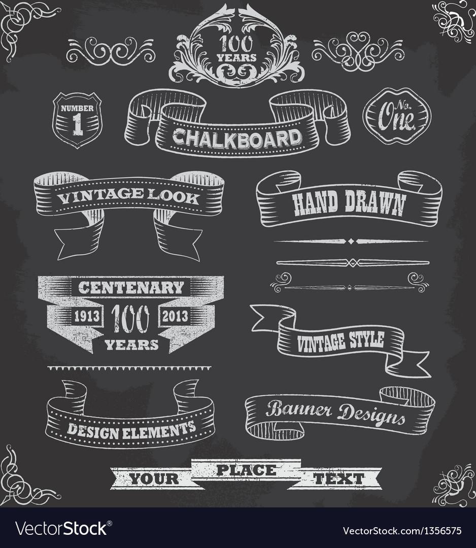 Chalkboard calligraphy banners vector image